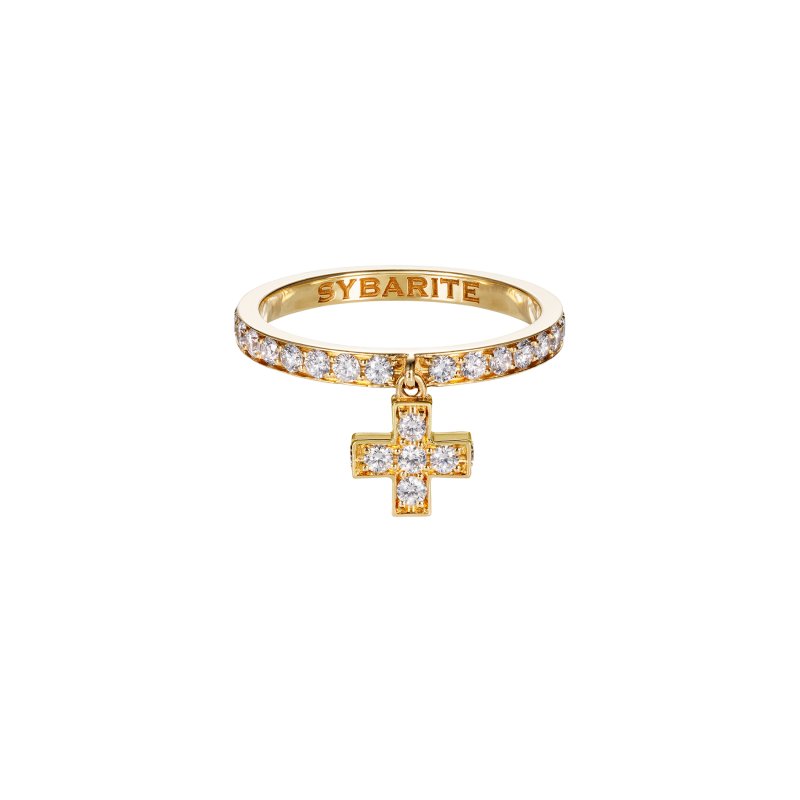 Cross Ring in Yellow Gold with White Diamonds  CR3.24  Sybarite Jewellery - image 0