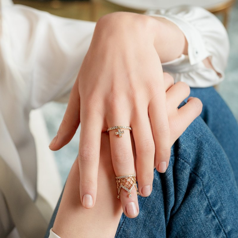 Cross Ring in Yellow Gold with White Diamonds  CR3.24  Sybarite Jewellery - image 1