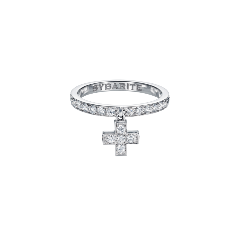 Cross Ring in White Gold with White Diamonds  CR3.04  Sybarite Jewellery - image 0