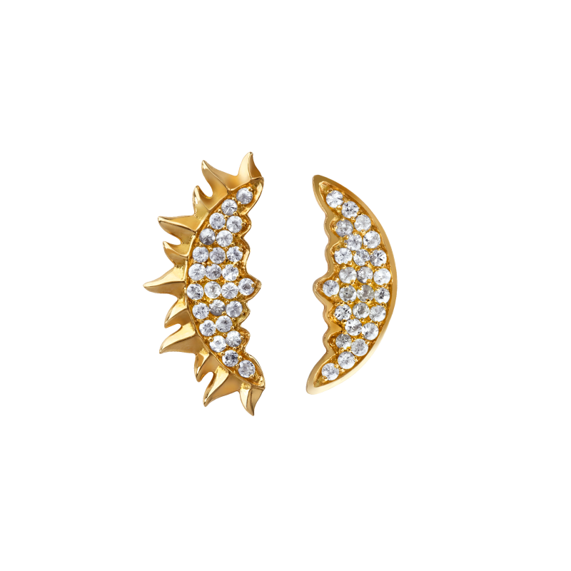 Day & Night Earrings in Yellow Gold with White Diamonds  DNE6.24  Sybarite Jewellery - image 0