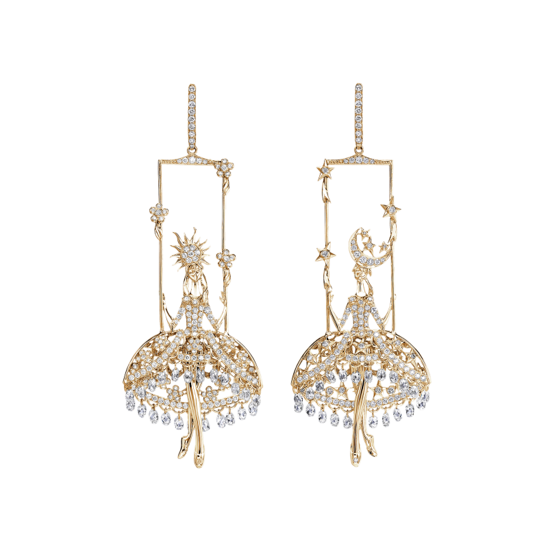 Fairies Earrings in Yellow Gold with White Diamonds  DNSE4.06  Sybarite Jewellery - image 0