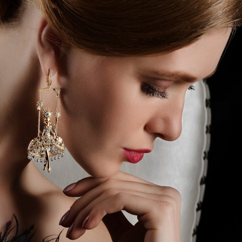 Fairies Earrings in Yellow Gold with White Diamonds  DNSE4.06  Sybarite Jewellery - image 3