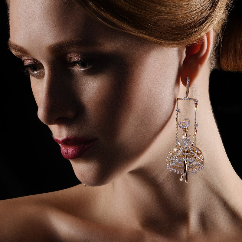 Fairies Earrings in Yellow Gold with White Diamonds  DNSE4.06  Sybarite Jewellery - image 4