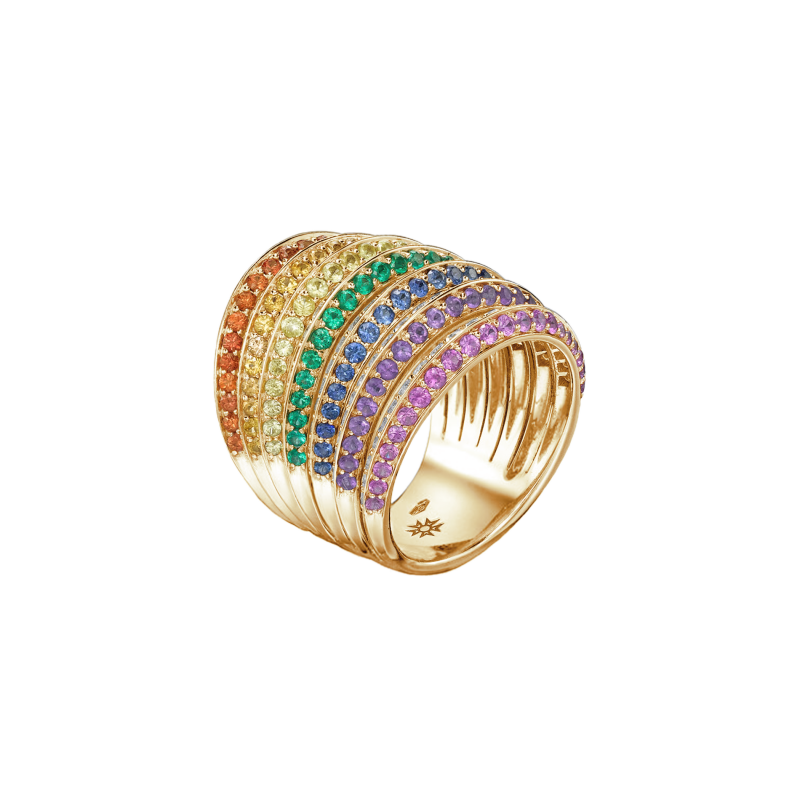 Rainbow Ring in Yellow Gold with White Diamonds, Fancy Sapphires and Emeralds RR9.24.S  Sybarite Jewellery - image 0
