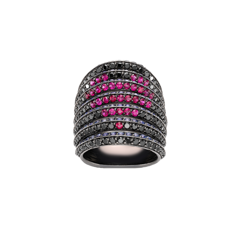 Rainbow Ring in Blackened Gold with Black Diamonds, Rubies and Blue Sapphires RR9.15.S  Sybarite Jewellery - image 0