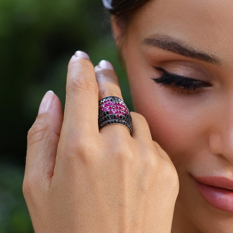 Rainbow Ring in Blackened Gold with Black Diamonds, Rubies and Blue Sapphires RR9.15.S  Sybarite Jewellery - image 4