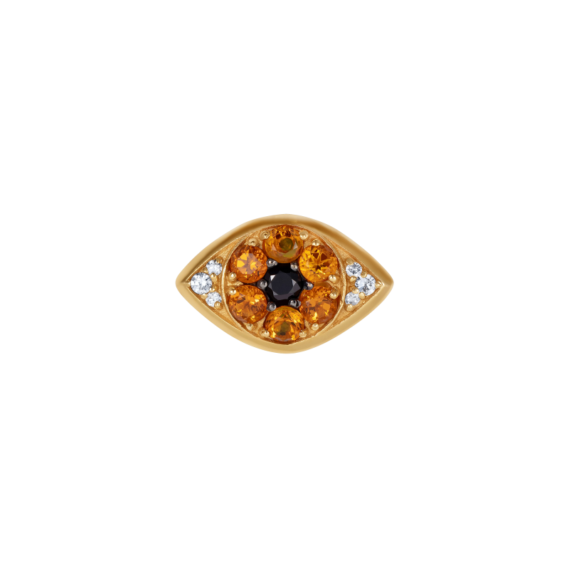 Safety Pin All Seeing Eye Charm in Yellow Gold with Black & White Diamonds and Citrine  SPR9.30.7  Sybarite Jewellery - image 0