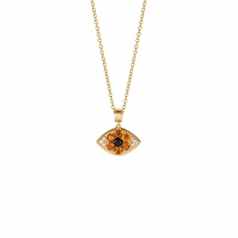 Safety Pin All Seeing Eye Charm in Yellow Gold with Black & White Diamonds and Citrine  SPR9.30.7  Sybarite Jewellery - image 2