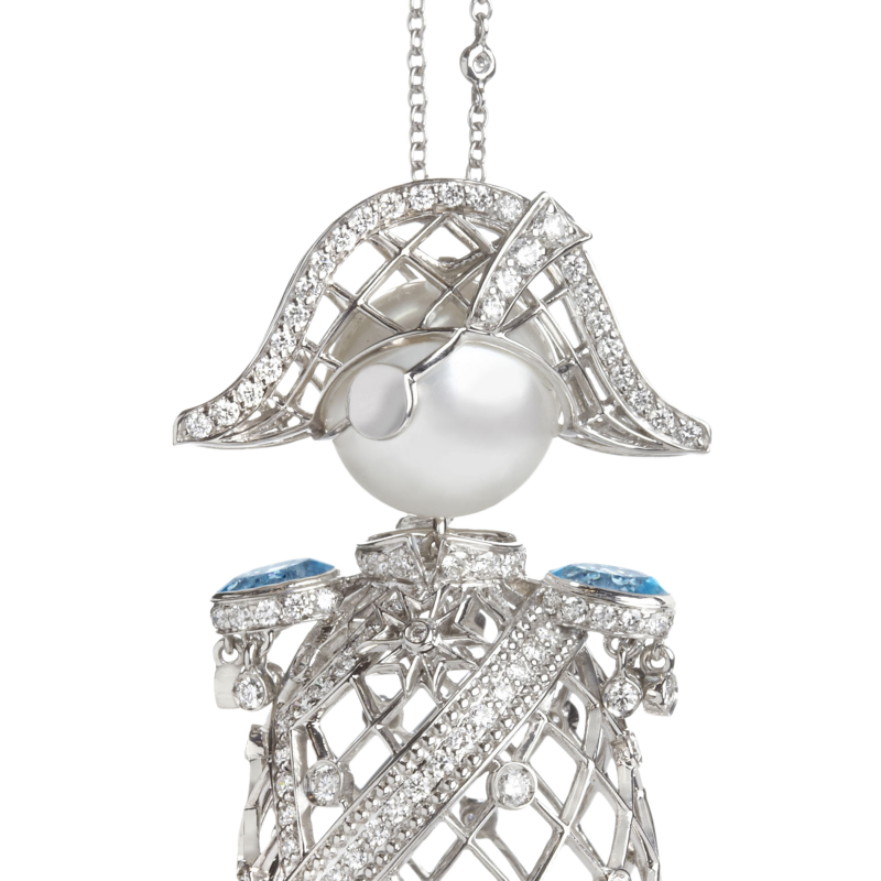Nelson Pendant in White Gold with White Diamonds & South Sea Pearl  NELP6.04.16 Sybarite Jewellery - image 1