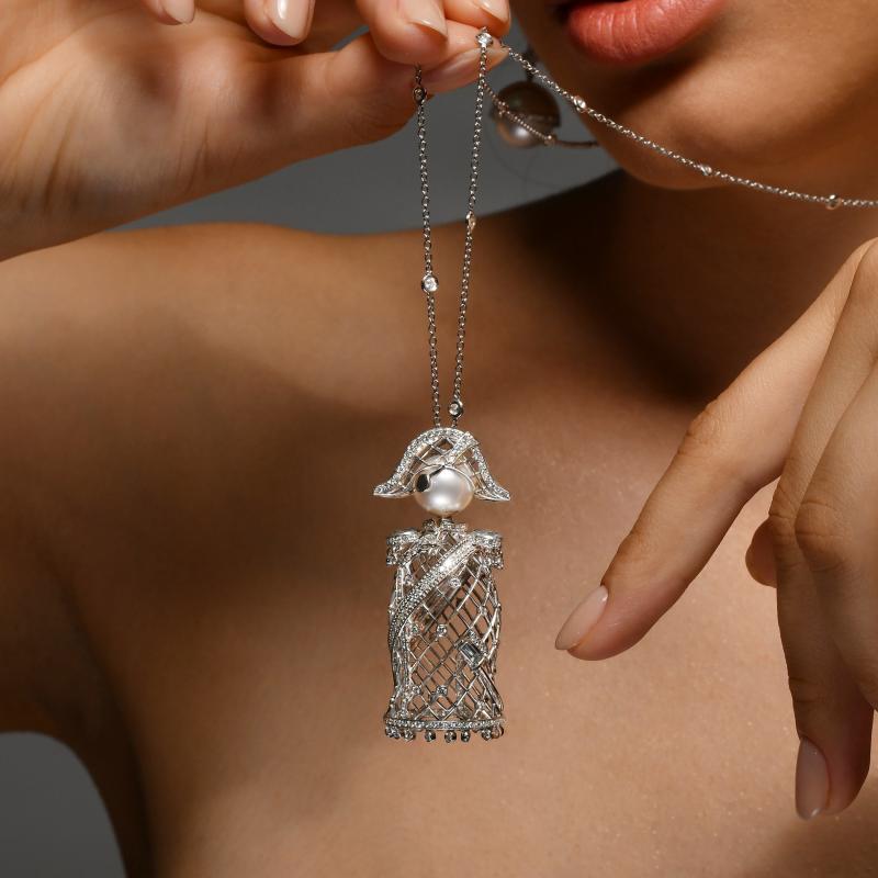 Nelson Pendant in White Gold with White Diamonds & South Sea Pearl  NELP6.04.16 Sybarite Jewellery - image 3