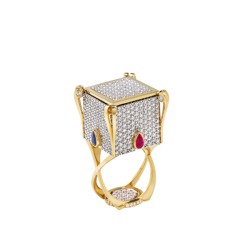 Heart In the Box Ring with Emerald HBR12.35 Sybarite Jewellery - image 1