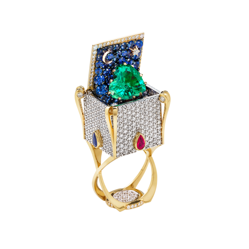Heart In the Box Ring with Emerald HBR12.35 Sybarite Jewellery - image 0