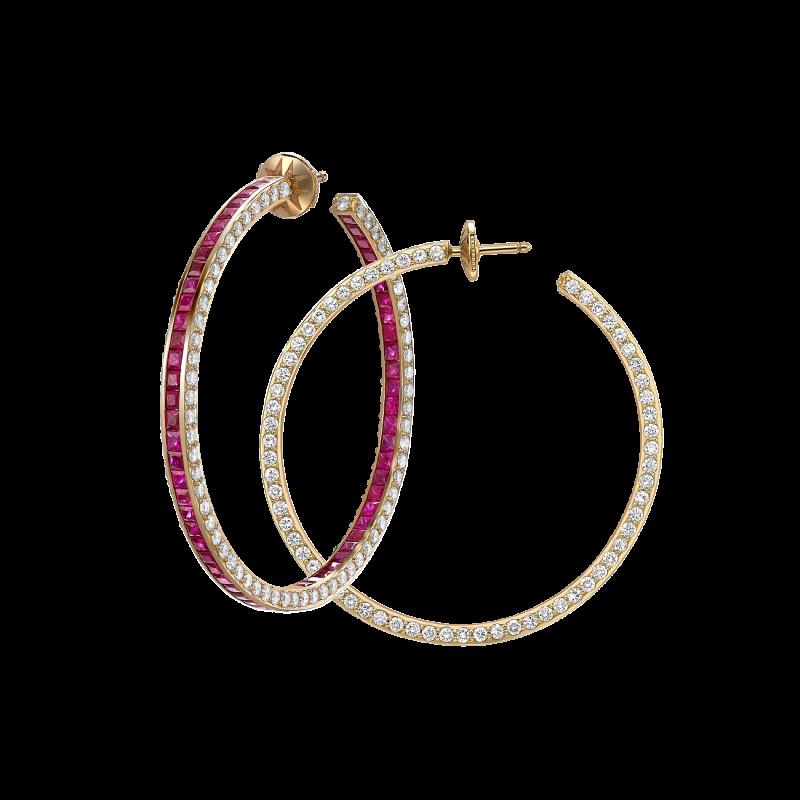 Hoop Earrings in Yellow Gold with White Diamonds & Rubies HE14.50 Sybarite Jewellery - image 0