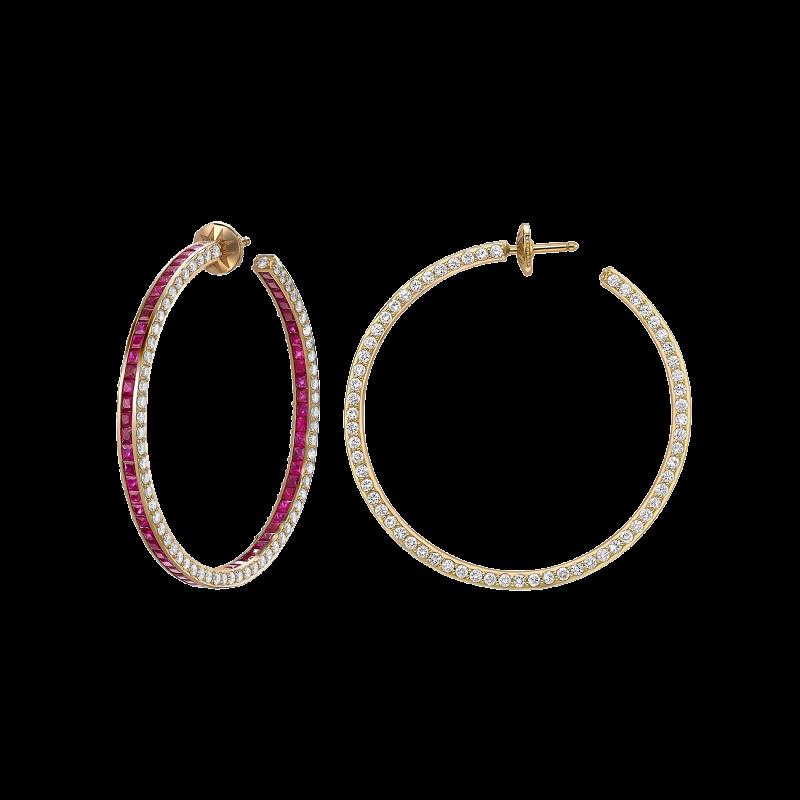 Hoop Earrings in Yellow Gold with White Diamonds & Rubies HE14.50 Sybarite Jewellery - image 1