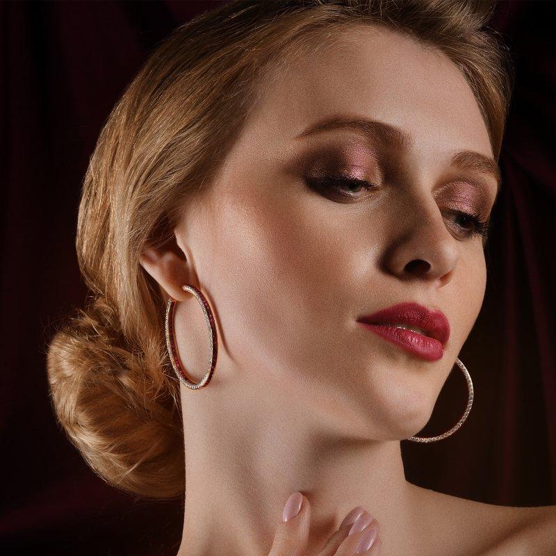 Hoop Earrings in Yellow Gold with White Diamonds & Rubies HE14.50 Sybarite Jewellery - image 2
