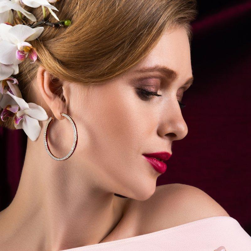 Hoop Earrings in Yellow Gold with White Diamonds & Rubies HE14.50 Sybarite Jewellery - image 3