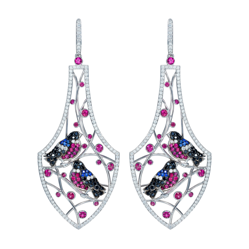 Bird Earrings in White Gold with White Diamonds, Rubies & Sapphires WBE1.24.1 Sybarite Jewellery - image 0