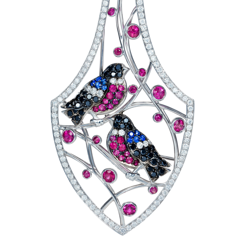 Bird Earrings in White Gold with White Diamonds, Rubies & Sapphires WBE1.24.1 Sybarite Jewellery - image 1
