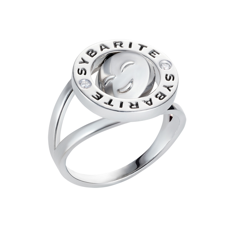 Smiley Ring So Cute in White Gold with White Diamonds SSCR8.04 Sybarite Jewellery - image 0