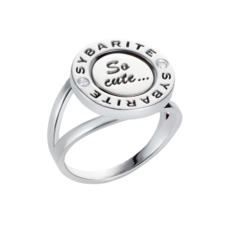 Smiley Ring So Cute in White Gold with White Diamonds SSCR8.04 Sybarite Jewellery - image 1