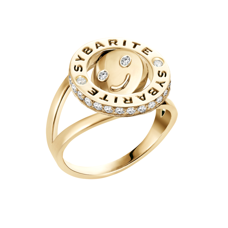Smiley Ring Happy in Yellow Gold with White Diamonds SHR8.24 Sybarite Jewellery - image 1