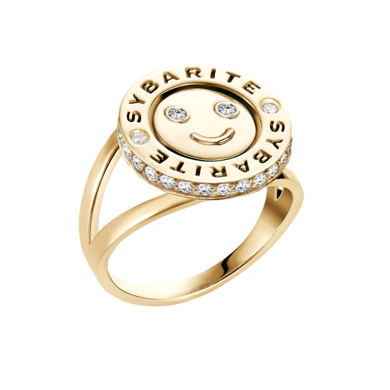 Smiley Ring Happy in Yellow Gold with White Diamonds SHR8.24 Sybarite Jewellery - image 2