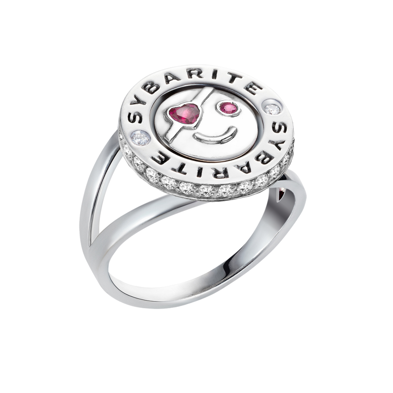 Smiley Ring In Love in White Gold With White Diamonds & Rubies SILR8.04.15 Sybarite Jewellery - image 1