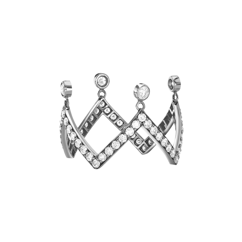 Crown Ring in White Gold with White Diamonds (Zig Zag) ZZRL11.04 Sybarite Jewellery - image 0