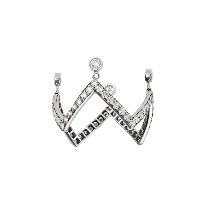 Crown Ring in White Gold with White Diamonds (Zig Zag) ZZRL11.04 Sybarite Jewellery - image 1