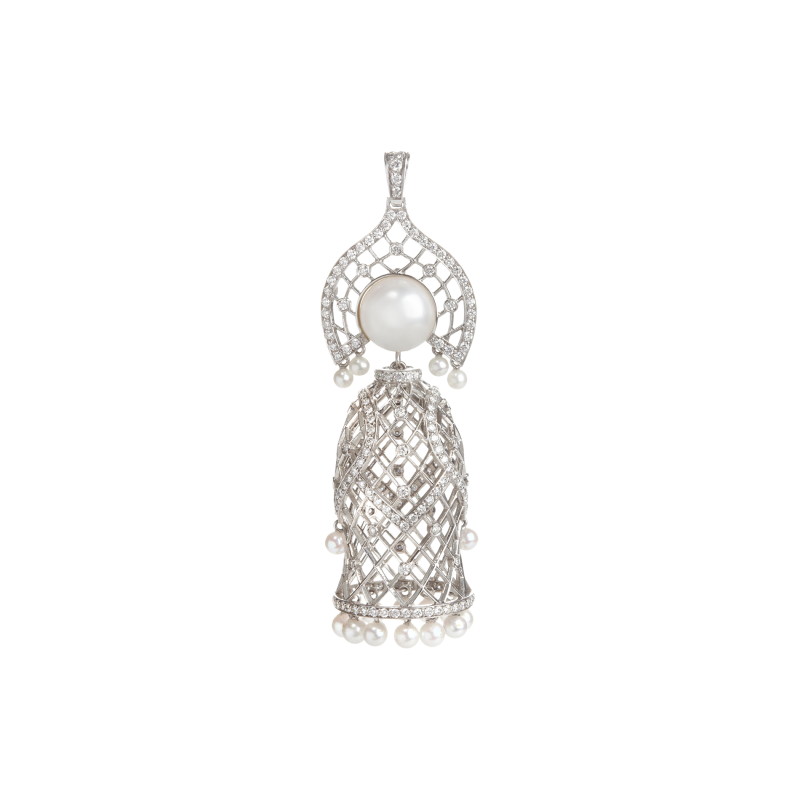 Doll Pendant Necklace in White Gold with White Diamonds & South Sea Pearl MDP6.04 Sybarite Jewellery - image 0