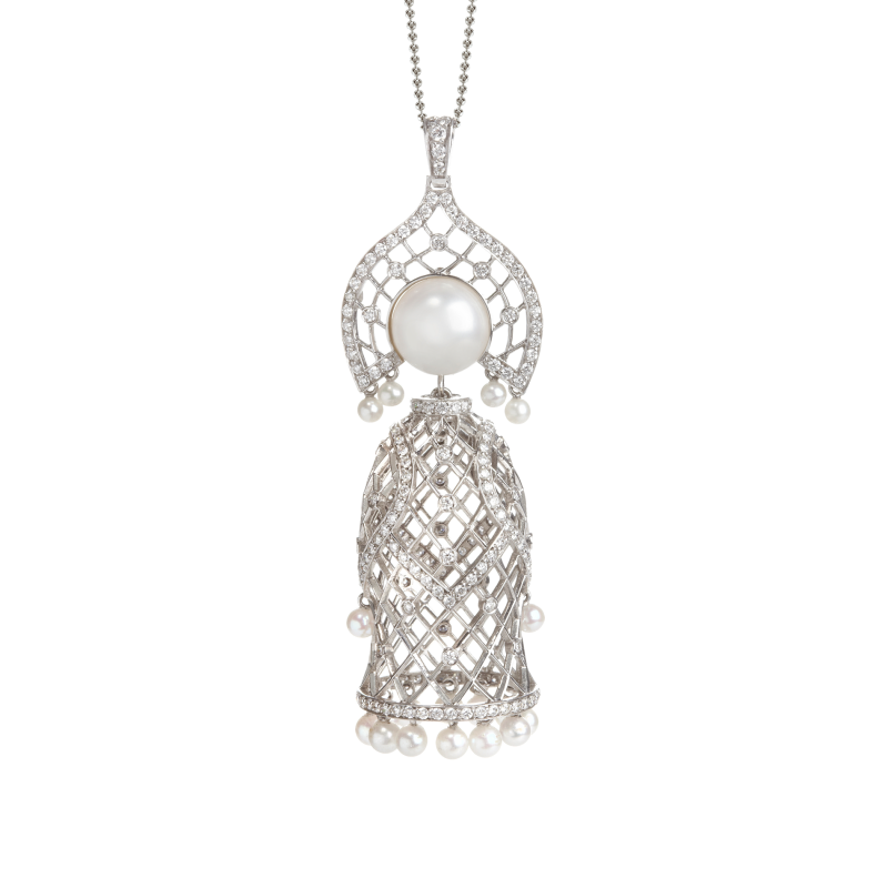 Doll Pendant Necklace in White Gold with White Diamonds & South Sea Pearl MDP6.04 Sybarite Jewellery - image 1