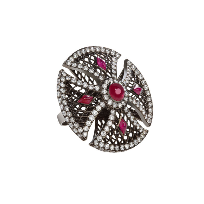 Heritage Ring in Blackened Gold with Black Diamonds & Rubies BLR1.14.15 Sybarite Jewellery - image 1