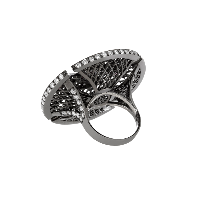 Heritage Ring in Blackened Gold with Black Diamonds & Rubies BLR1.14.15 Sybarite Jewellery - image 2