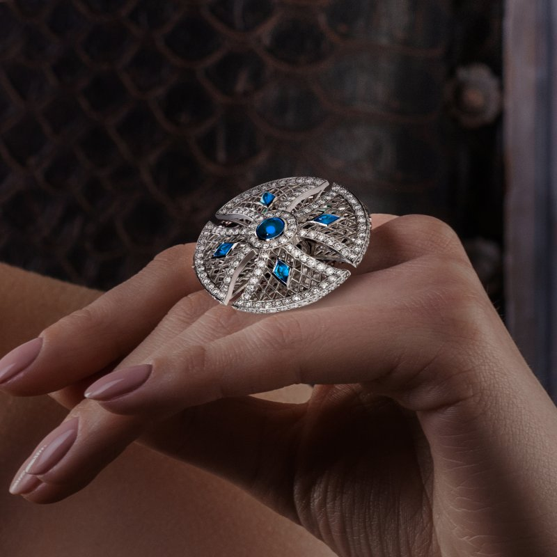 Heritage Ring in White Gold with White Diamonds & Sapphires BLR1.04.10 Sybarite Jewellery - image 4