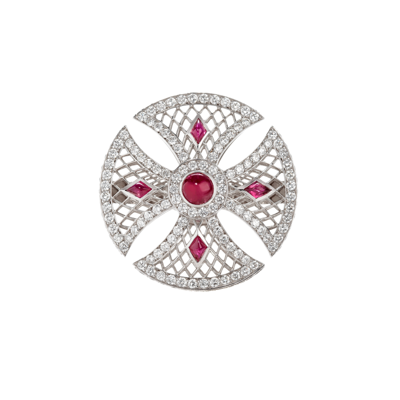 Heritage Ring in White Gold with White Diamonds & Rubies BLR1.04.15 Sybarite Jewellery - image 0