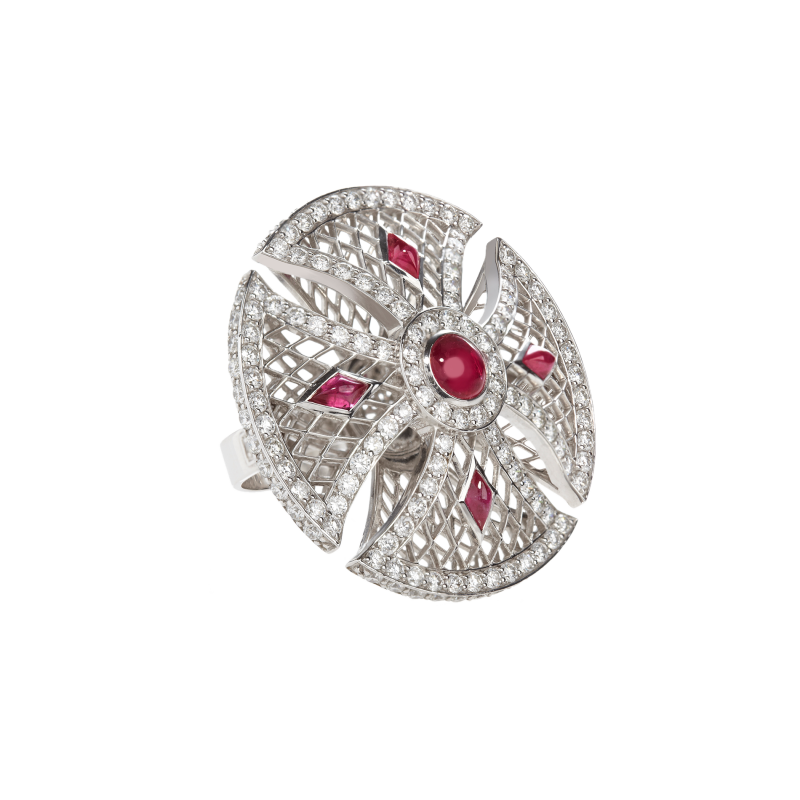 Heritage Ring in White Gold with White Diamonds & Rubies BLR1.04.15 Sybarite Jewellery - image 1