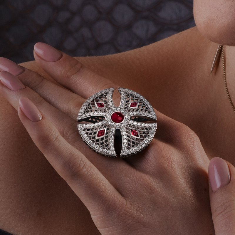 Heritage Ring in White Gold with White Diamonds & Rubies BLR1.04.15 Sybarite Jewellery - image 4