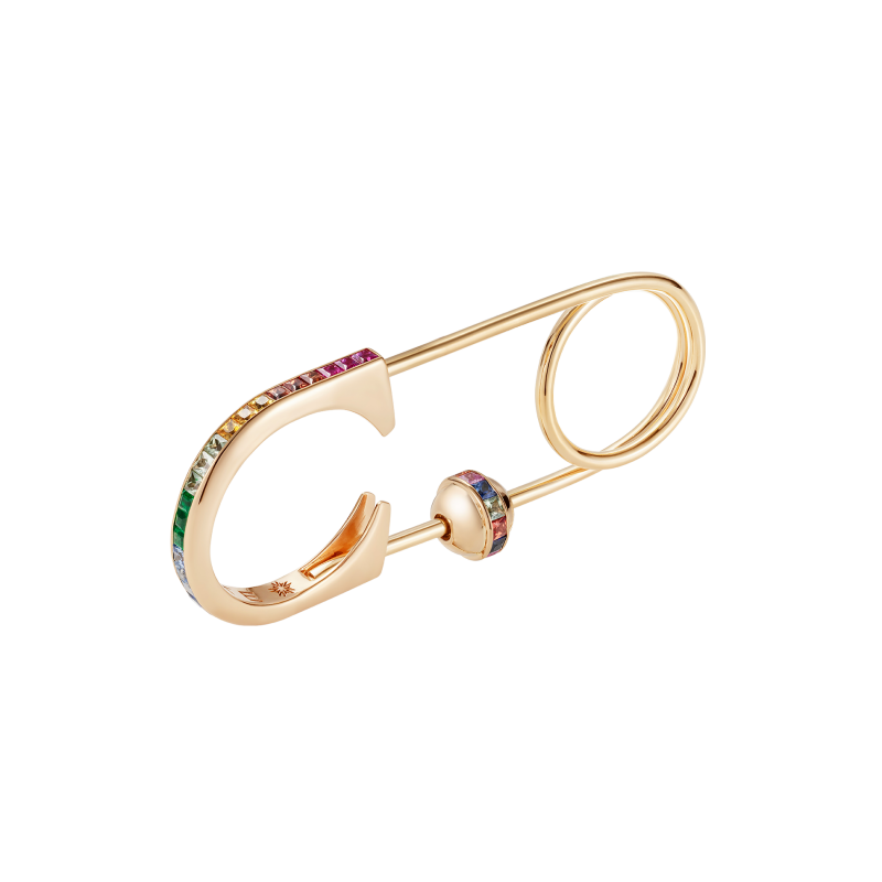 Safety Pin Ring in Yellow Gold with Rainbow Gemstones and a Charm Ball SPR9.20.25 Sybarite Jewellery - image 0