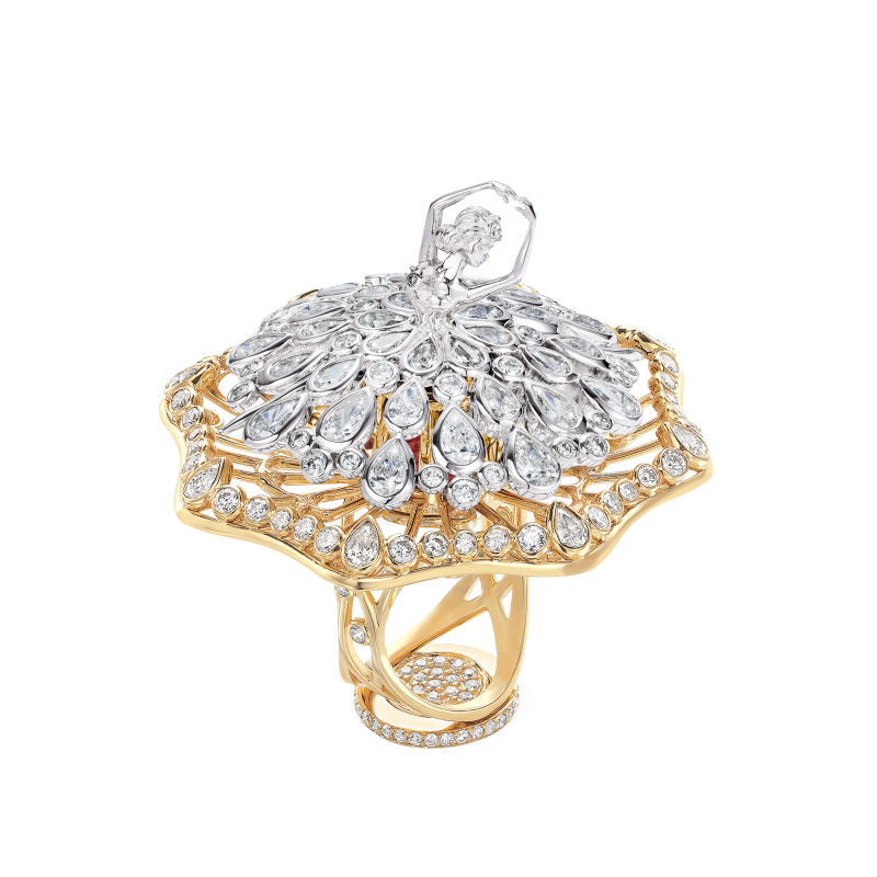 Dancing Ballerina Ring in White & Yellow Gold with White Diamonds DBR11.042 Sybarite Jewellery - image 0