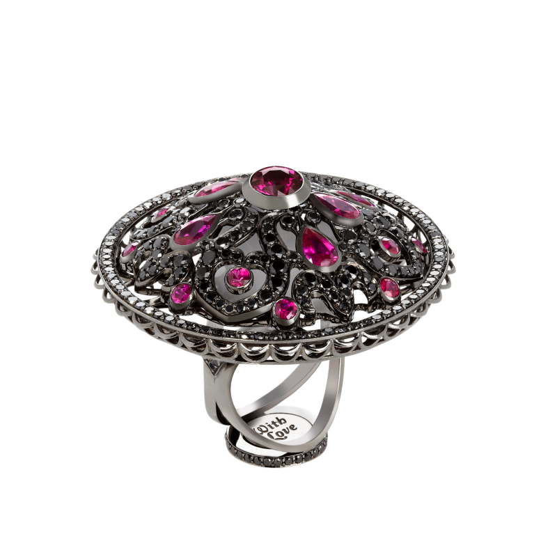 Dancing Doll Ring in Blackened Gold with Black Diamonds, Rubies and Pearls DDR5.15.15 Sybarite Jewellery - image 1