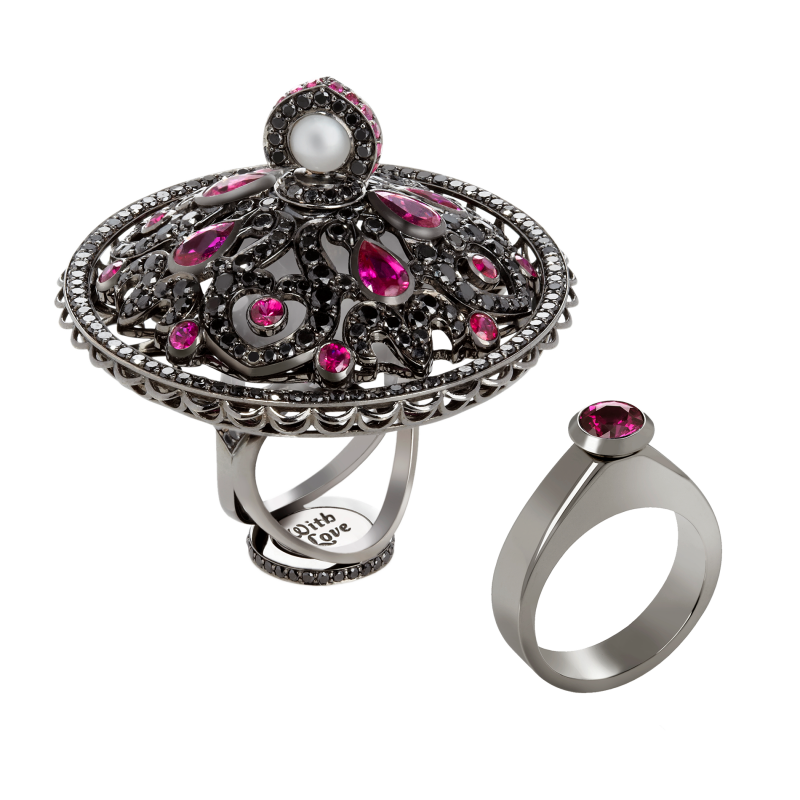 Dancing Doll Ring in Blackened Gold with Black Diamonds, Rubies and Pearls DDR5.15.15 Sybarite Jewellery - image 0