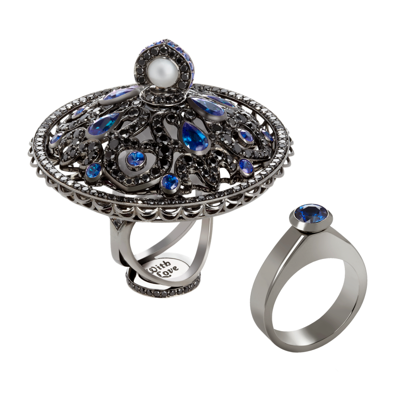 Dancing Doll Ring in Blackened Gold with Black Diamonds, Sapphires and Pearls DDR5.15.20 Sybarite Jewellery - image 0