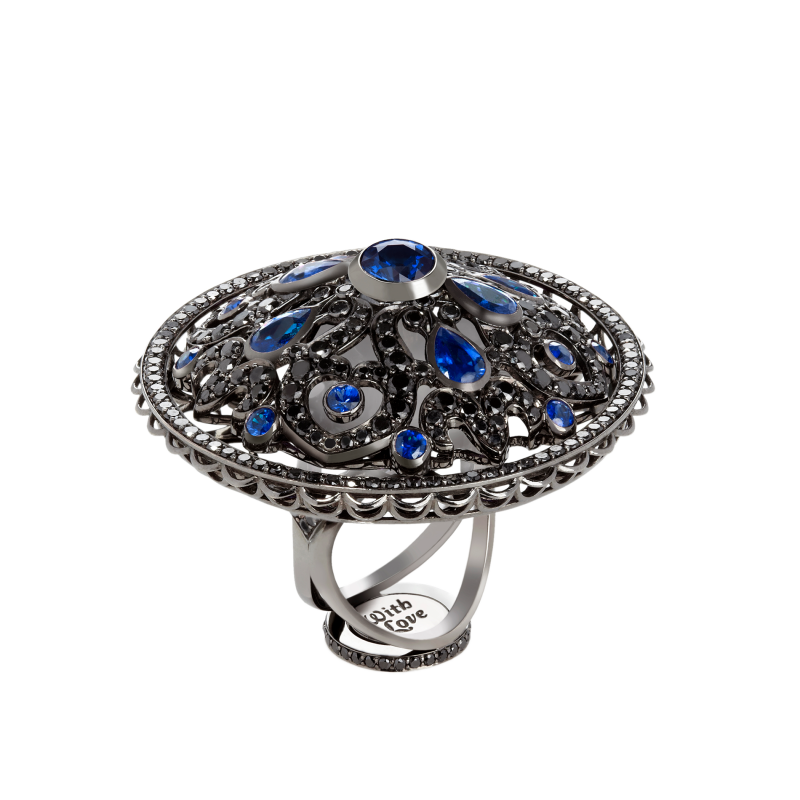 Dancing Doll Ring in Blackened Gold with Black Diamonds, Sapphires and Pearls DDR5.15.20 Sybarite Jewellery - image 1
