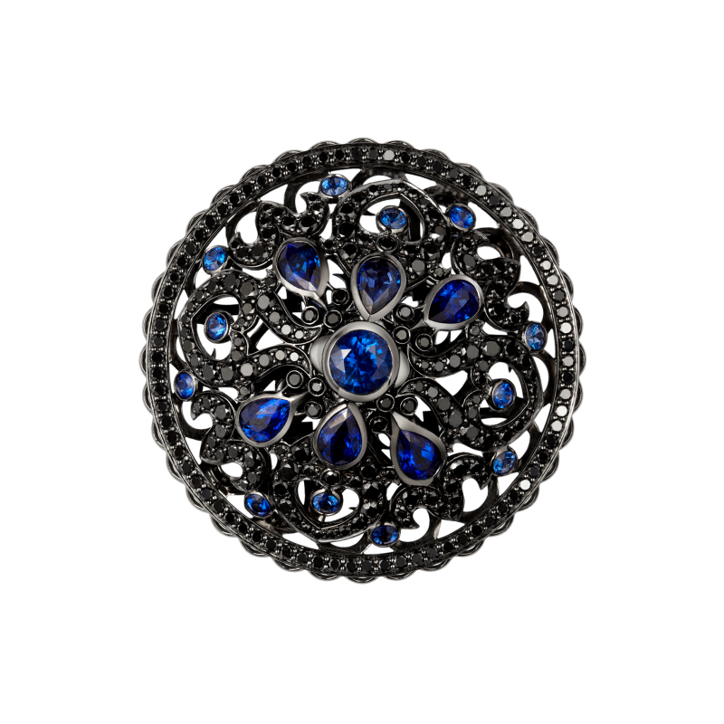Dancing Doll Ring in Blackened Gold with Black Diamonds, Sapphires and Pearls DDR5.15.20 Sybarite Jewellery - image 2