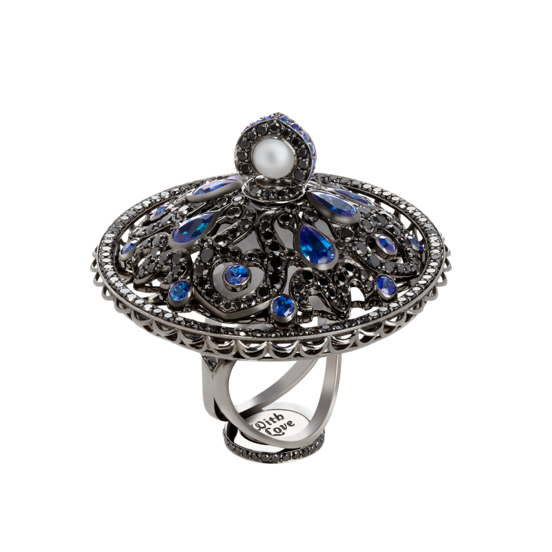 Dancing Doll Ring in Blackened Gold with Black Diamonds, Sapphires and Pearls DDR5.15.20 Sybarite Jewellery - image 3