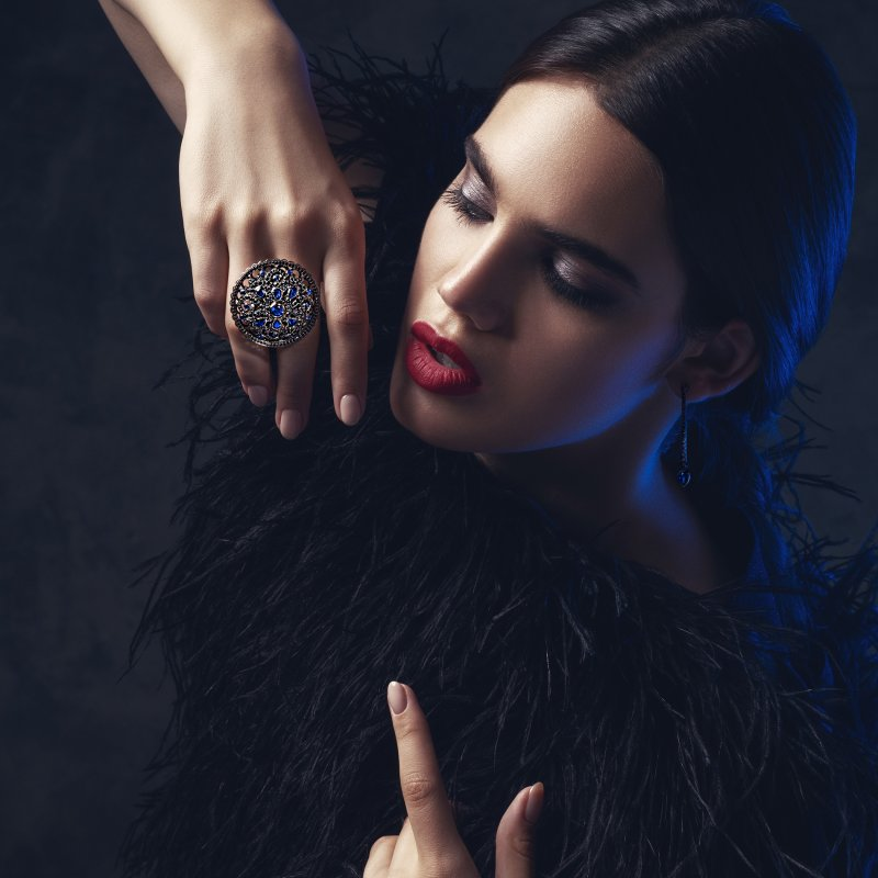 Dancing Doll Ring in Blackened Gold with Black Diamonds, Sapphires and Pearls DDR5.15.20 Sybarite Jewellery - image 6