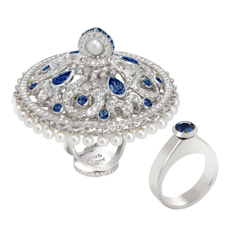 Dancing Doll Ring in White Gold with White Diamonds, Sapphires and Pearls DDR5.04.10.22 Sybarite Jewellery - image 0