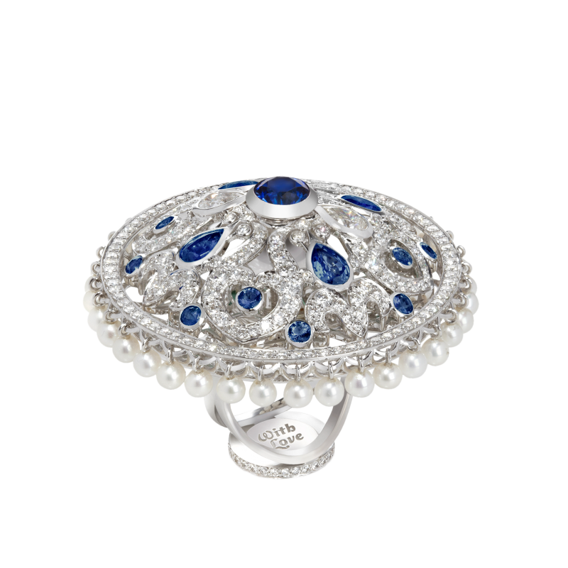 Dancing Doll Ring in White Gold with White Diamonds, Sapphires and Pearls DDR5.04.10.22 Sybarite Jewellery - image 1
