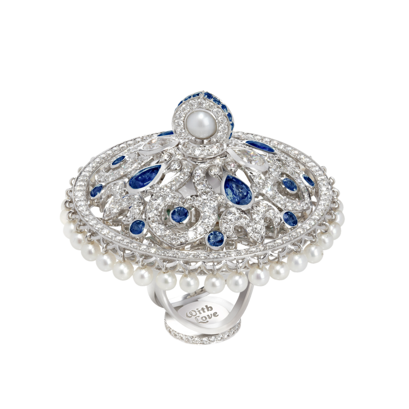 Dancing Doll Ring in White Gold with White Diamonds, Sapphires and Pearls DDR5.04.10.22 Sybarite Jewellery - image 3