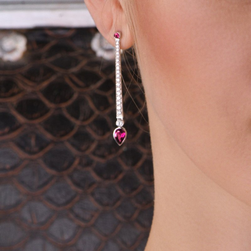 En Pointe Earrings in White Gold with White Diamonds and Rubies EPE5.04.15 Sybarite Jewellery - image 1